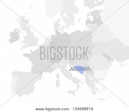 Bosnia and Herzegovina location modern detailed map. All european countries without names. Vector template of beautiful flat grayscale map design with selected country name text and border location