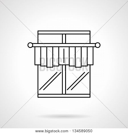 Window with short curtains on a cornice bar. Interior decoration for cafe and bistro, minimalism design. Curtains and blinds theme. Flat line style vector icon.