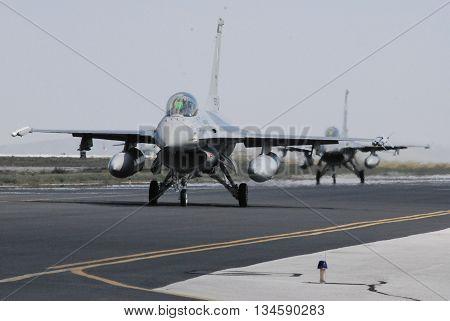 KONYA/TURKEY-JUNE 7, 2016: Pakistan Air Force F-16 Fighter Falcons at the TURAF 3rd Main Jet Base during the Anatolian Eagle Exercise 2016. June 7, 2016-Konya/Turkey