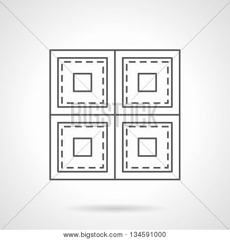 Sheet linoleum with square pattern. Store of floor covering. Repair and improvement works service. Flat line style vector icon.