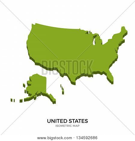 Isometric map of United States detailed vector illustration. Isolated 3D isometric country concept for infographic