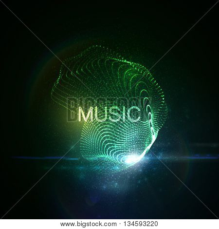 Music neon sign. 3D illuminated abstract shape of glowing particles, wireframe, splashes and lens flare optical light effect. Music disco party. Vector illustration.