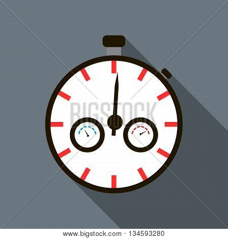 Stopwatch icon in flat style on a grey background