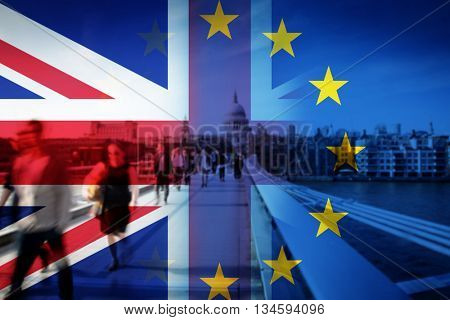 United Kingdom and European union flags combined for the 2016 referendum - crowd of people walking on Millenium Bridge and St Paul's Cathedral in the bckground poster