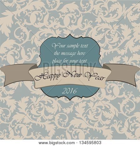 Happy New Year vintage card with classic ornaments. Vector