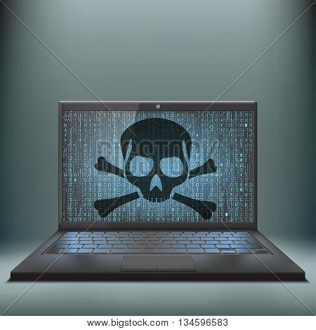 Laptop with skull and crossbones on the screen. Cybercrime. Virus attack. Stock vector illustration.