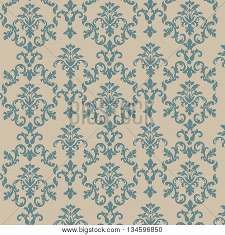 Damask style ornament pattern in green and beige color. Vector