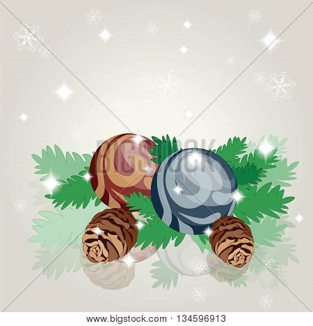Merry Christmas toys decoration composition background. Vector
