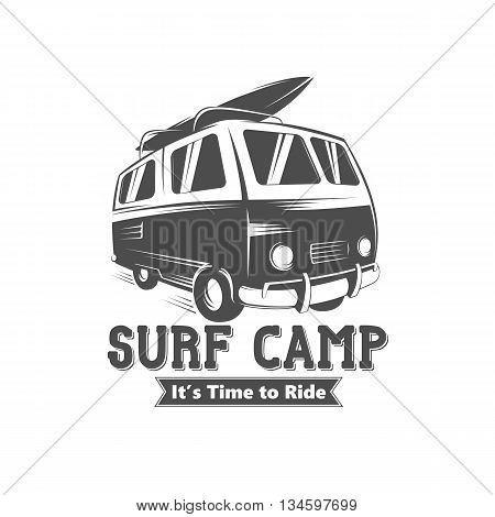 Surf camp logo design. Vintage black and white vector illustration of surf camp event