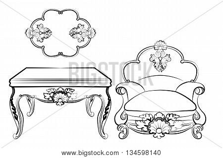 Imperial Royal Set with classic rococo damask ornaments. Vector