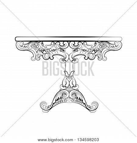 Elegant classic round table in baroque style with luxurious ornaments. Vector