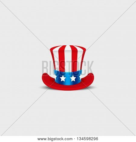 Uncle Sam hat on white background. Cylinder USA American. Idependence day. National Patriotic Date