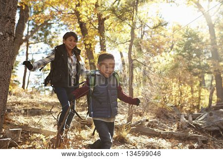 Two Hispanic children have fun running in a forest