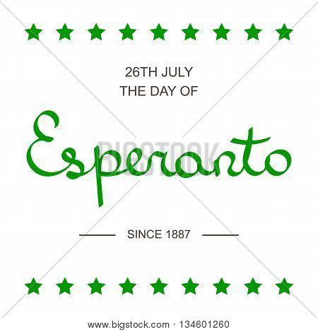Esperanto language day lettering card isolated on white background.