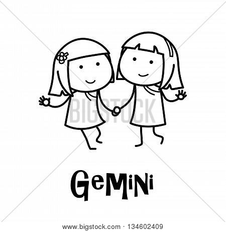 Gemini Zodiac, a hand drawn vector cartoon doodle illustration of Gemini zodiac, The Twins.