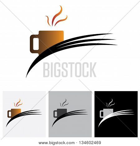 Freshly Brewed Coffee In A Cafe Or Cafeteria - Vector Logo Graphic