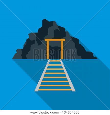 Mountain mine with railway icon in flat style on a blue background