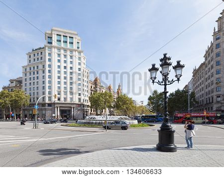 Barcelona Spain- 10 October 2015: Many people and tourists come to shop Zara on the street Passeig de Gracia in Barcelona October 10 2015 Barcelona Spain