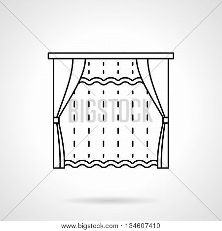 Room window with blinds and tulle curtain. Textile decoration for bedroom, living room, hotel interior. Blinds, curtains and drapery theme. Flat line style vector icon.