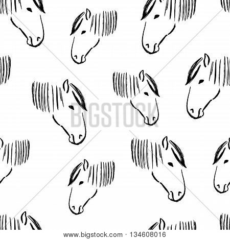 Seamless pattern with heads of horses. Vector illustration. Black and white wallpaper. Artistic grunge ink animal sketch