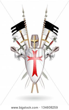 Outfit Templar: shield sword two-handed sword ax mace helmet standard. Colored vector illustration made in the form of a coat of arms on white.