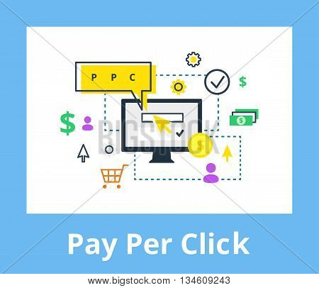 Pay per click - internet marketing, advertising concept in line and flat style. PPC vector illustration.