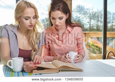 college student girls studying at home with books