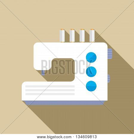 Modern sewing machine icon in flat style on a beige background