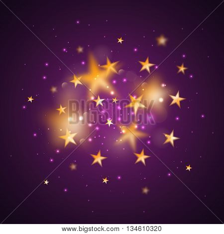 Magic background with blurred stars. Vector gold defocused stars on purple background.