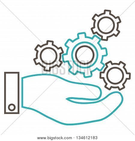 Mechanics Service vector icon. Style is linear bicolor flat icon symbol, grey and cyan colors, white background.