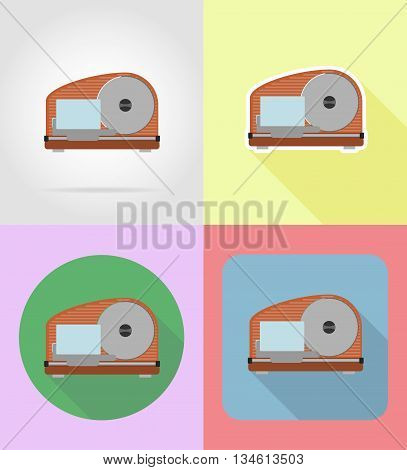 slicer household appliances for kitchen flat icons vector illustration isolated on background