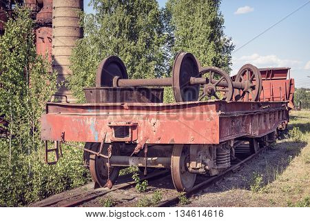 Old Flat Wagon With Railcar Wheelset