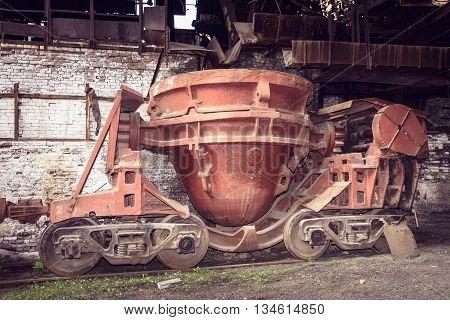 Old Slag Disposal Pots In Blast Furnace Workshop