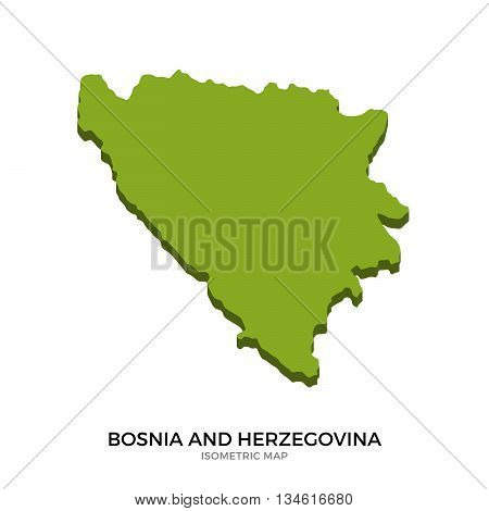 Isometric map of Bosnia and Herzegovina detailed vector illustration. Isolated 3D isometric country concept for infographic
