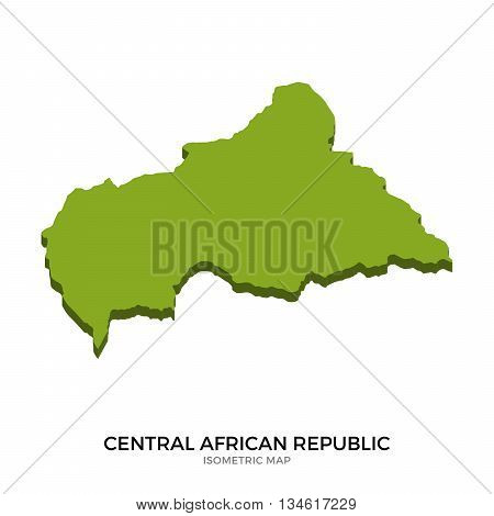 Isometric map of Central African Republic detailed vector illustration. Isolated 3D isometric country concept for infographic