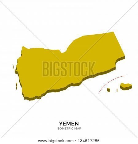 Isometric map of Yemen detailed vector illustration. Isolated 3D isometric country concept for infographic
