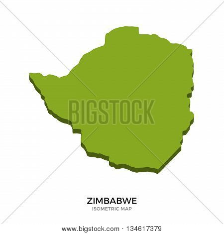 Isometric map of Zimbabwe detailed vector illustration. Isolated 3D isometric country concept for infographic