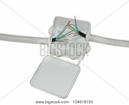 Junction Box For Electrical Wiring With Wires