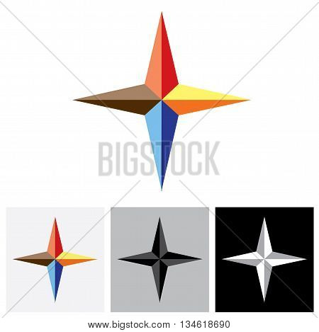 Colorful Plus Vector Logo Icon ( Positive Sign ) Of Triangles.