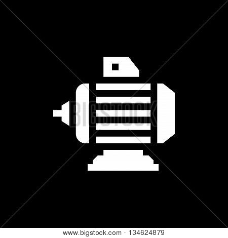 Electric motor icon isolated on black. Vector illustration