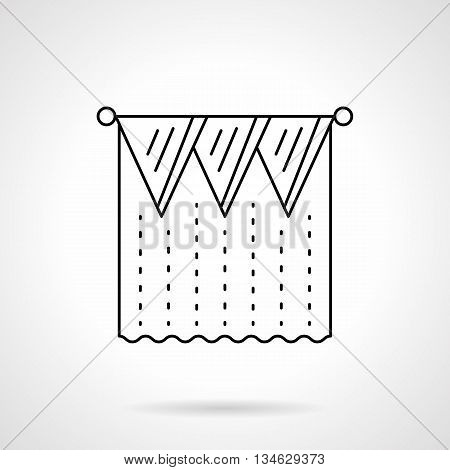 Triangle pelmets and tulle curtain. Modern interior design with unusual shaped elements. Textile decorations. Flat line style vector icon.