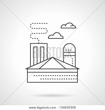 Heavy industry objects. Ironworks plant, processing of metal, iron, steel. Industrial building with chimney. Ecology and environment problems. Flat line style vector icon.