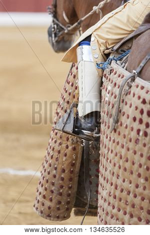 Andujar, Spain - September 10 2011: Picador bullfighter lancer whose job it is to weaken bull's neck muscles in the bullring for Jaen Spain