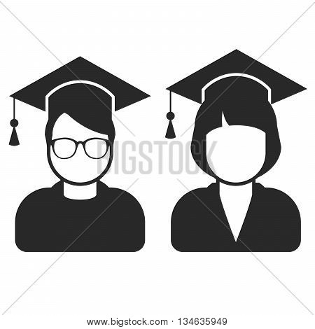 Students in mortarboard hats - graduating students