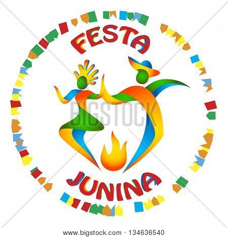Festa Junina dancers man and woman in color Brazilian flag. Traditional Brazil June festival party. Vector illustration.