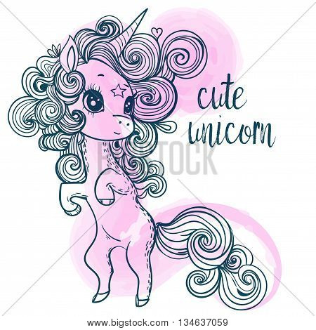 pink cartoon fairytale unicorn with rainbow and clouds