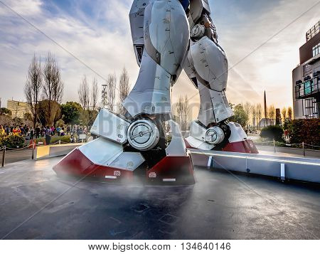 Odaiba, Tokyo, Japan - March 30, Both Legs Part Of 18-meter Mobile Suit Gundam Rx78 Robot Stand In F