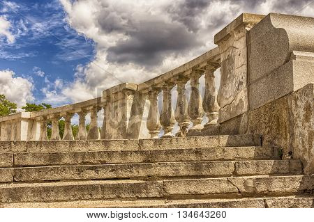 Staircase of a castle in Prague.staircase with columnsthe ancient ladderthe ruins of ancient civilizations