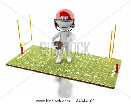 3d renderer image. White people playing on American Football field. Sport concept. Isolated white background.