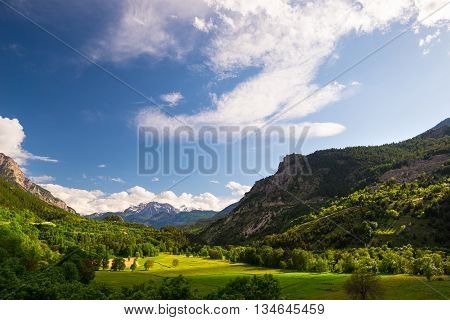 Green And Yellow Blooming Meadow Set Amid Idyllic Mountain Landscape With Snowcapped Mountain Range